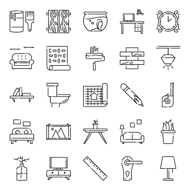 Paquete de iconos de diseño de interiores, con estilo de icono de contorno Vector Premium