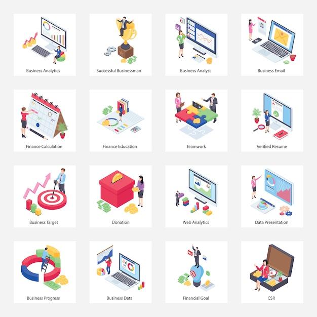Paquete de iconos isométricos de business analytics Vector Premium