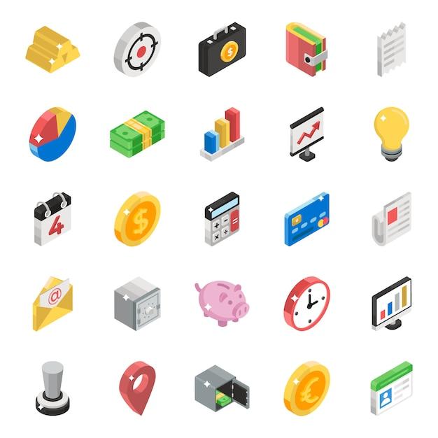 Paquete de iconos isométricos de datos comerciales Vector Premium