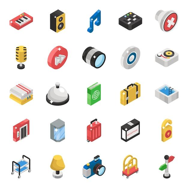 Paquete de iconos isométricos de instrumentos musicales Vector Premium