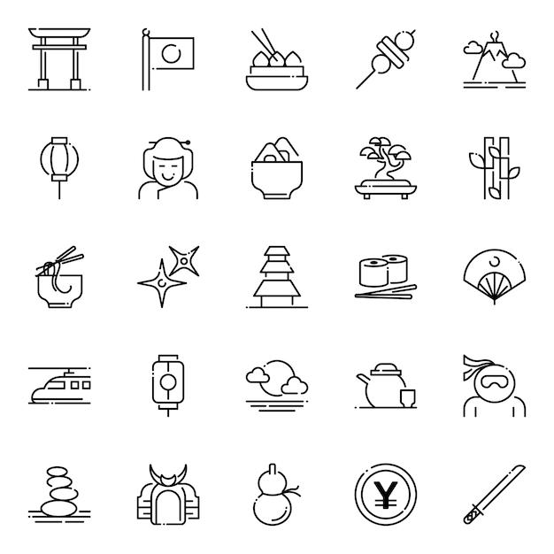 Paquete de iconos de japón, con estilo de icono de contorno Vector Premium