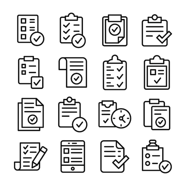Paquete de iconos de la lista de tareas verificadas Vector Premium