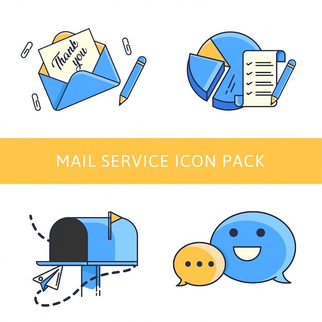Paquete de iconos de marketing por correo electrónico Vector Premium
