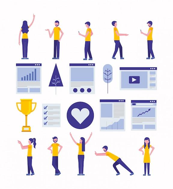Paquete de iconos de marketing de redes sociales y comunidad vector gratuito