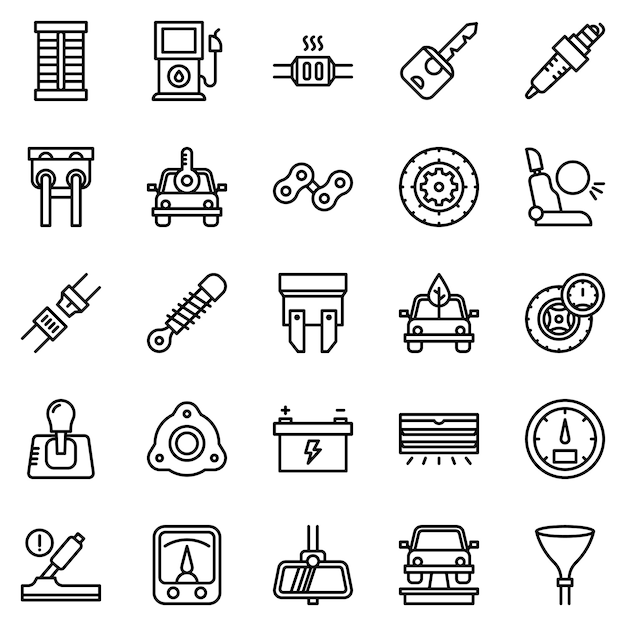 Paquete de iconos de motor de automóvil, con estilo de icono de esquema Vector Premium
