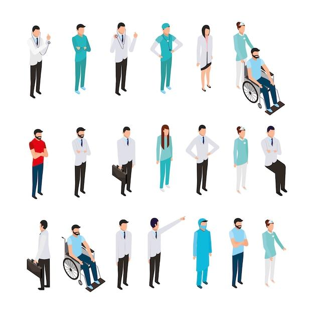 Paquete de iconos y personal médico profesional vector gratuito