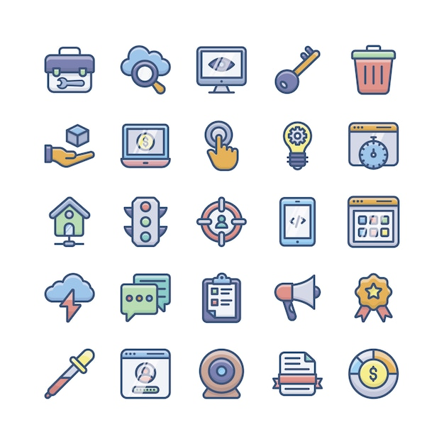 Paquete de iconos planos de programación web Vector Premium