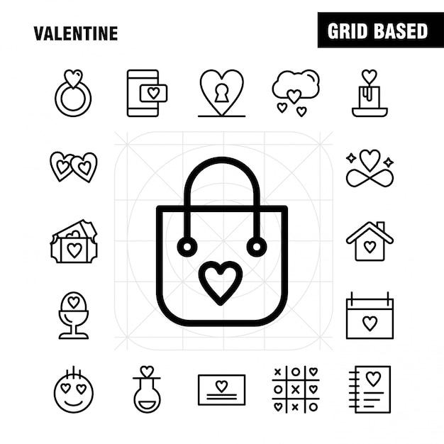 Paquete de iconos de valentine line: matraz, amor, romántico, san valentín, amor, regalo, corazón, san valentín vector gratuito