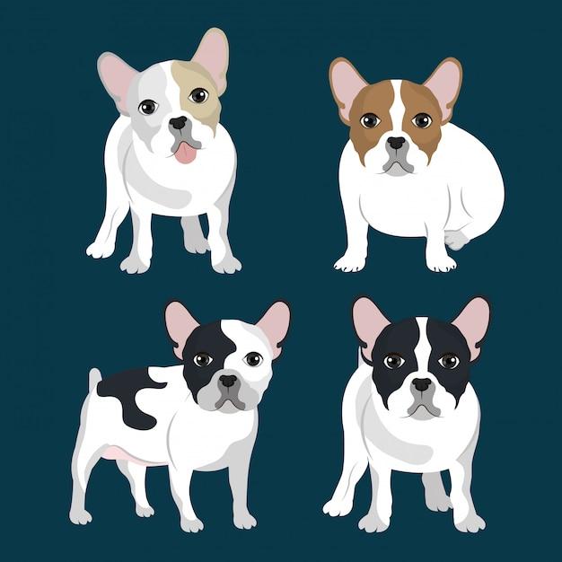 Paquete de ilustración de bulldog vector gratuito