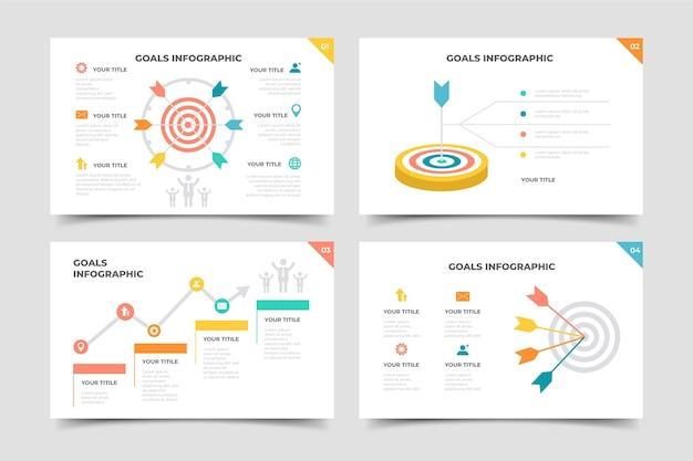 Paquete de infografía de objetivos Vector Premium
