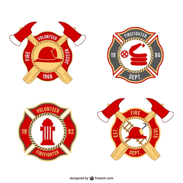 Paquete de insignias de bomberos | Descargar Vectores gratis