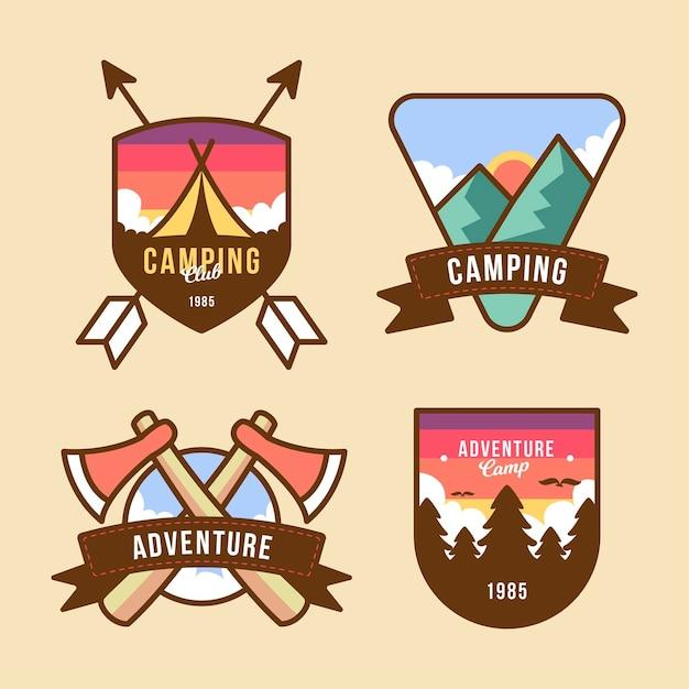 Paquete de insignias de camping y aventuras de plantilla vintage vector gratuito