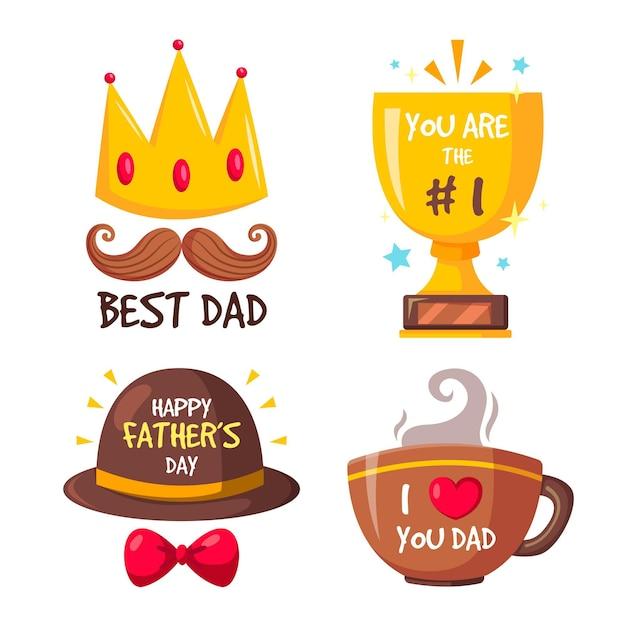 Paquete de insignias del día del padre vector gratuito