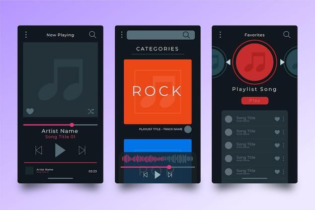 Paquete de interfaz de la aplicación del reproductor de música vector gratuito