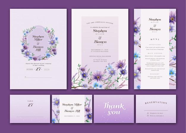 Paquete de invitación de boda de acuarela floral violeta y azul Vector Premium