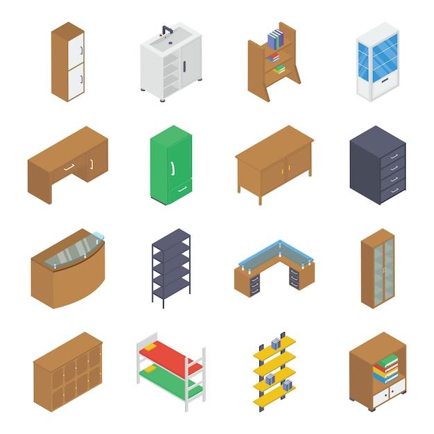 Paquete isométrico de muebles para el hogar Vector Premium