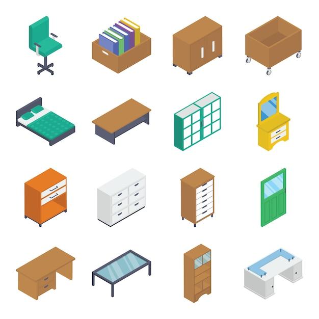 Paquete isométrico de muebles de interior Vector Premium