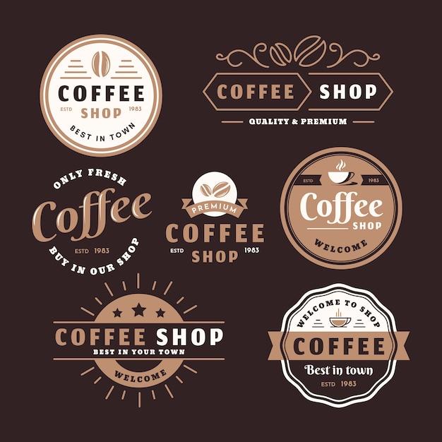 Paquete de logo retro de cafetería vector gratuito