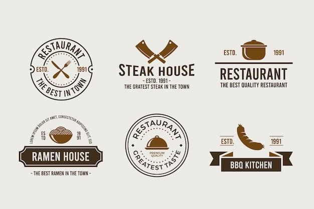 Paquete de logo retro de restaurante vector gratuito