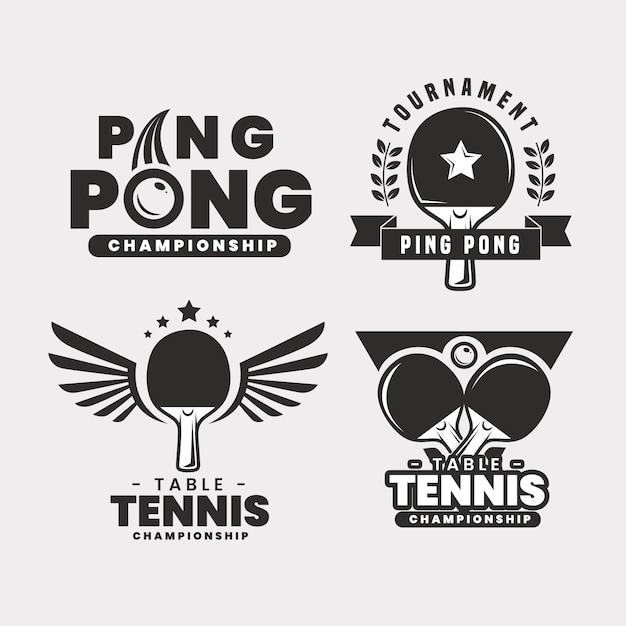 Paquete de logo de tenis de mesa vector gratuito