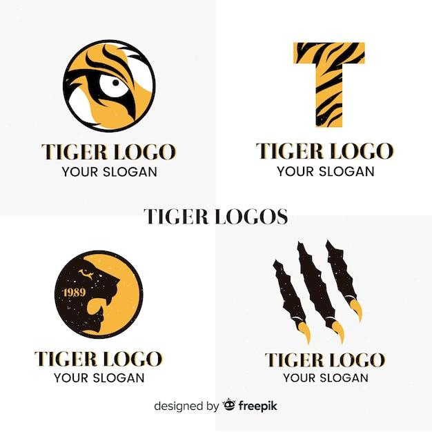 Paquete logos simples tigre vector gratuito