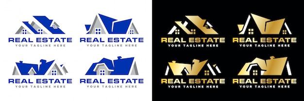 Paquete de logotipo inmobiliario moderno simple Vector Premium