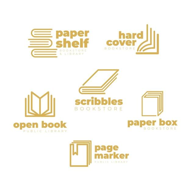 Paquete de logotipo de libro de diseño plano vector gratuito