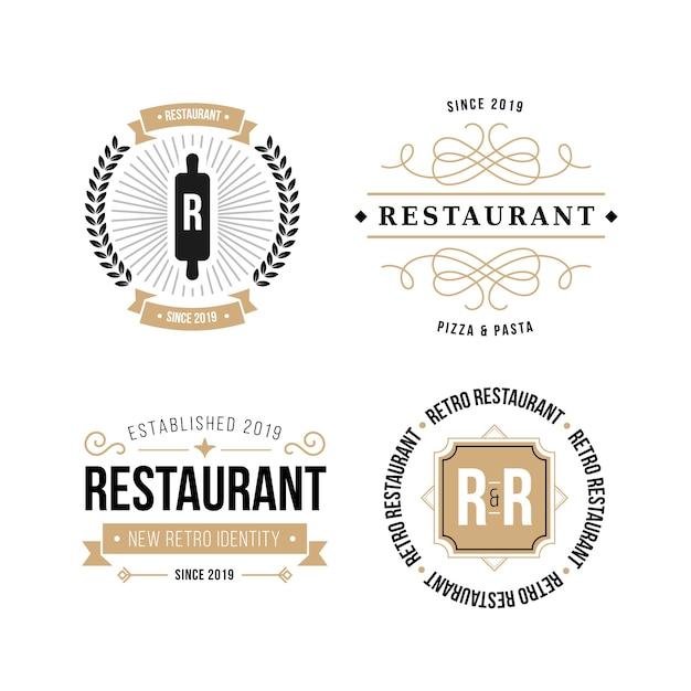 Paquete de logotipo de marca retro de restaurante vector gratuito