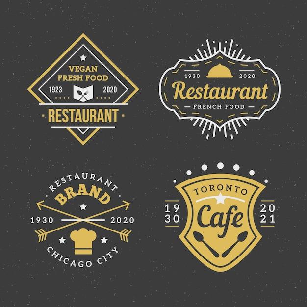 Paquete de logotipo de marca vintage de restaurante vector gratuito