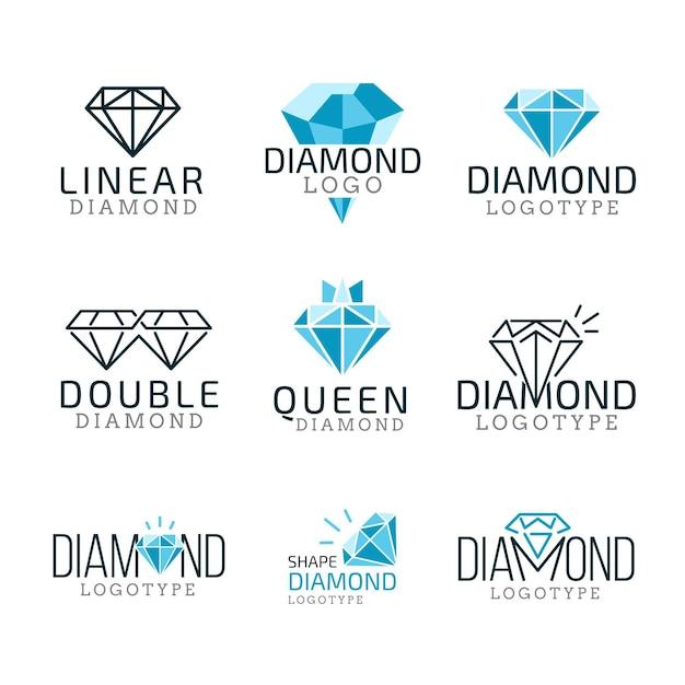 Paquete de logotipos de diamantes lineales vector gratuito
