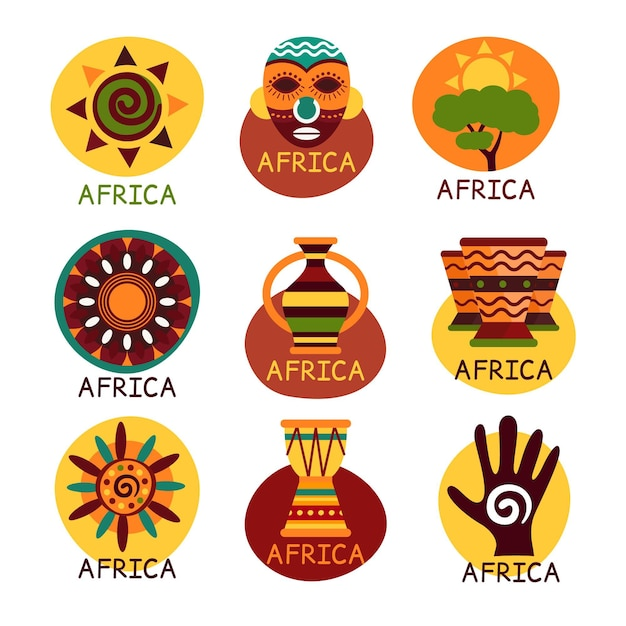 Paquete de logotipos de mapas de áfrica Vector Premium