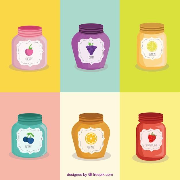 Paquete de mermelada de sabores vector gratuito