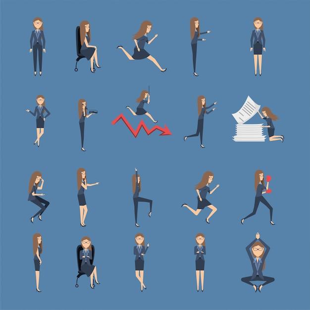 Paquete de mujeres empresarias con iconos Vector Premium