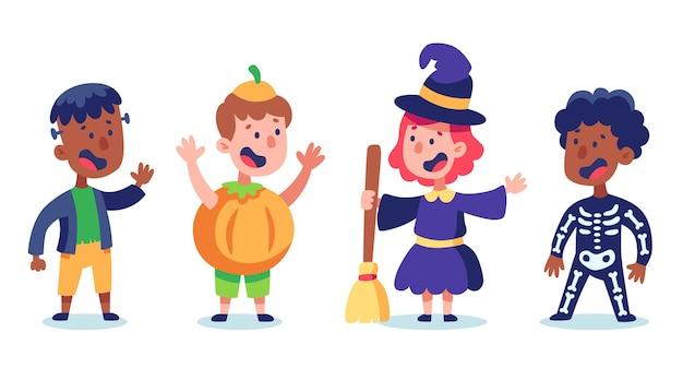 Paquete de niños de halloween vector gratuito