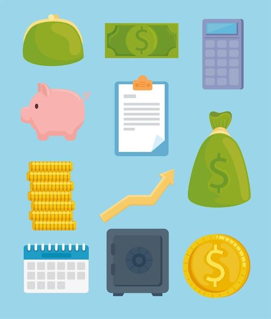 Paquete de once iconos de economía de dinero de ahorro ilustración Vector Premium