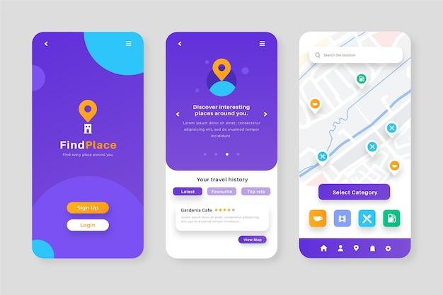 Paquete de pantallas de la aplicación de ubicación vector gratuito
