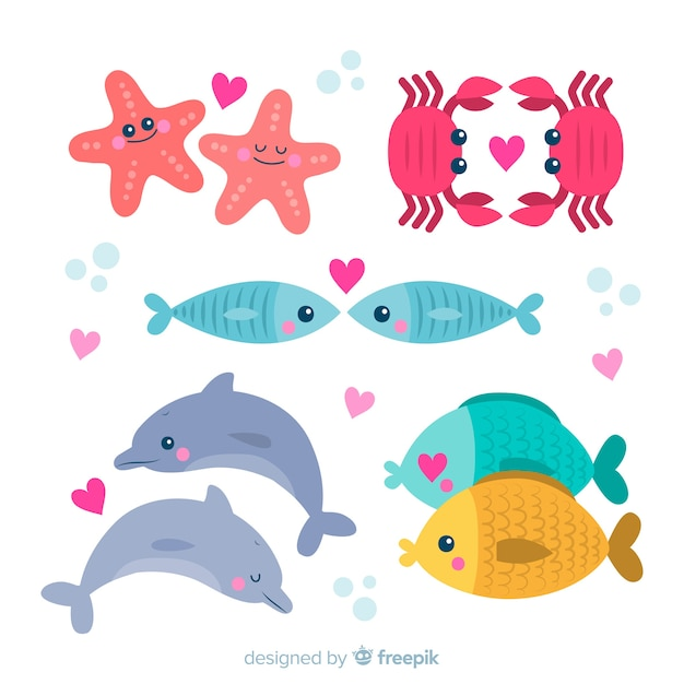 Paquete parejas de animales marinos san valentín vector gratuito
