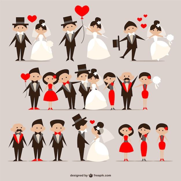 Paquete de parejas de boda vector gratuito