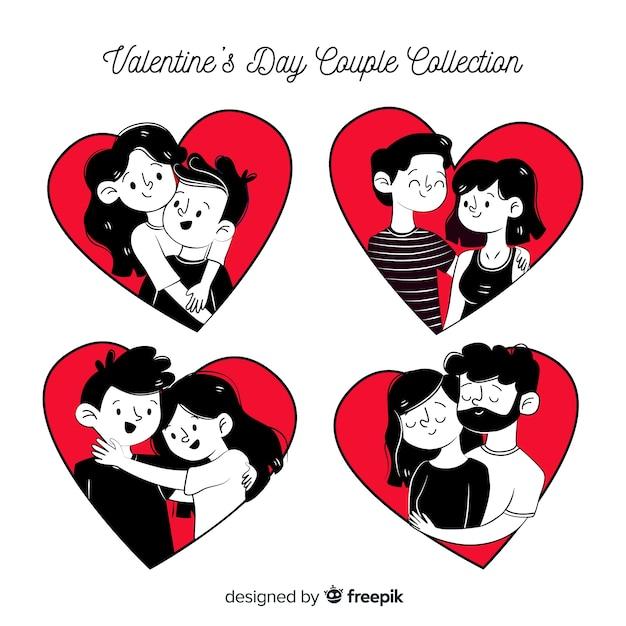 Paquete parejas san valentín cómic vector gratuito