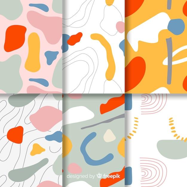 Paquete de patrones abstractos dibujados a mano vector gratuito