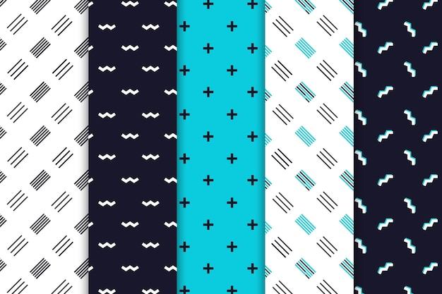 Paquete de patrones de diseño minimalista vector gratuito