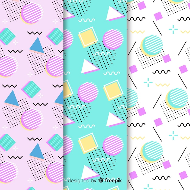 Paquete de patrones sin fisuras de memphis vector gratuito
