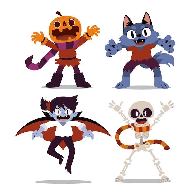 Paquete de personajes de halloween vector gratuito