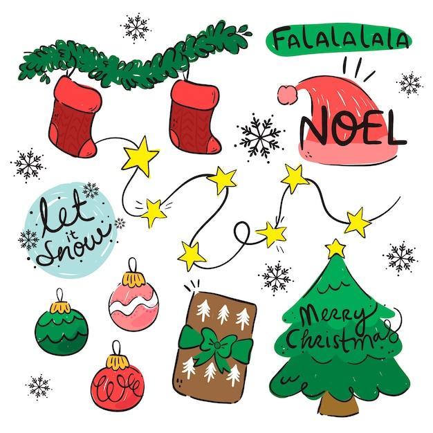 Paquete plano de elementos navideños vector gratuito