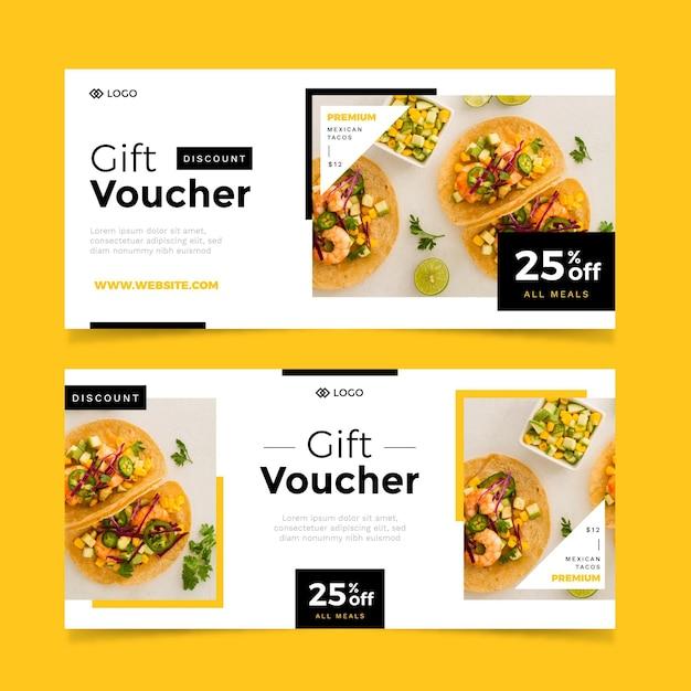 Paquete de plantilla de vale de regalo con imagen Vector Premium