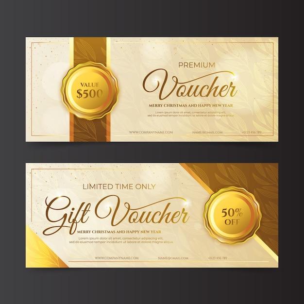 Paquete de plantillas de cupones de regalo dorados Vector Premium