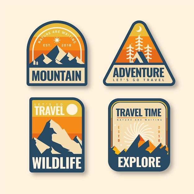Paquete de plantillas de insignias de camping y aventuras vintage Vector Premium