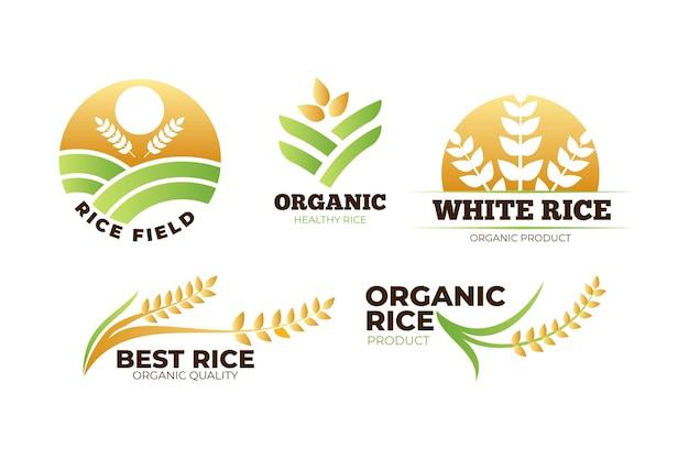 Paquete de plantillas de logotipo de arroz Vector Premium