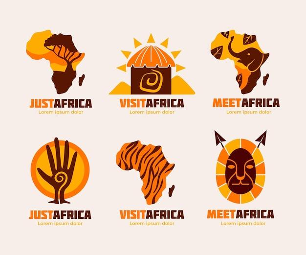 Paquete de plantillas de logotipo de mapa de áfrica vector gratuito