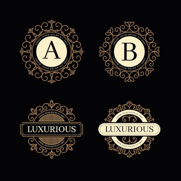 Paquete de plantillas de logotipo retro de lujo vector gratuito